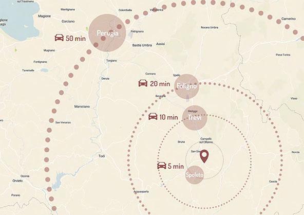 Area Commerciale Querceto - Distanze dai principali centri abitati